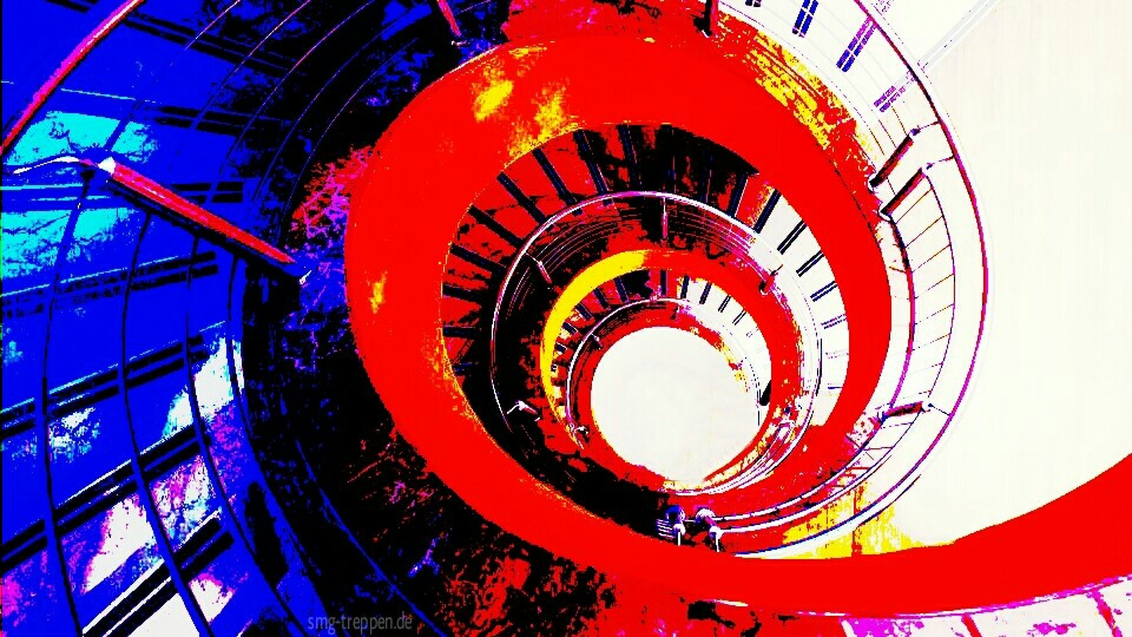 spiral, indoors, spiral staircase, built structure, staircase, steps and staircases, steps, architecture, low angle view, railing, pattern, circle, design, ceiling, geometric shape, red, directly below, metal, blue, no people