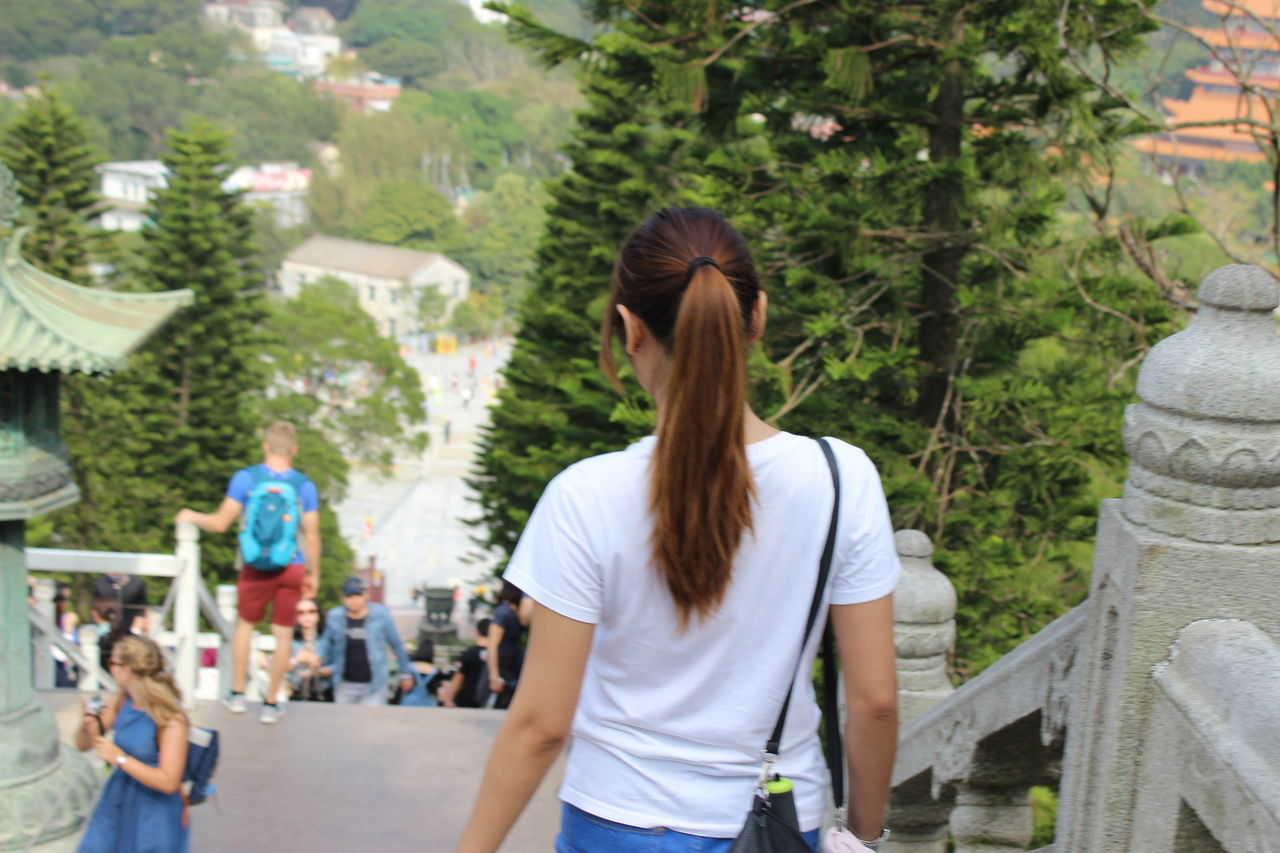 Rear View Only Women Adults Only Women One Woman Only Adult Standing Leisure Activity Real People Travel Destinations Travel Photography Staircase HongKong Tian Tan Buddha (Giant Buddha) 天壇大佛 People Day