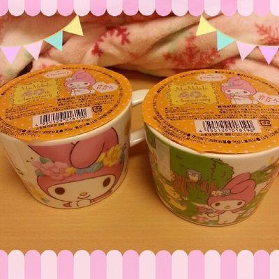 昨日マイメロ のマグカップ ゼリー 買ったよ♡ 超かわいい♡♡お気に入り(>_<) Mymelody サンクスSunkuskawaiicute癒しmugsanrioコンビニJellyorangeみかんゼリー