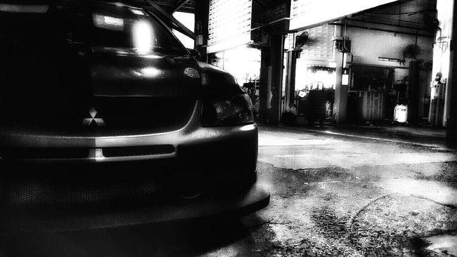 Mitsubishi Evo Lonely Night Workshop Evolution  Bnw_auto Bnw_society Bnw_collection