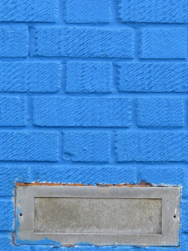 Blue Architecture Blue Color Day No People Patterned Detail Brickwork  Whale Letterbox Letter Box Brickwork  Great Britain EyeEm Best Shots - Architecture Brick Work Bricks Built Structure Brick Wall Brick Pattern Wall - Building Feature Sunny City Backgrounds Extreme Close-up