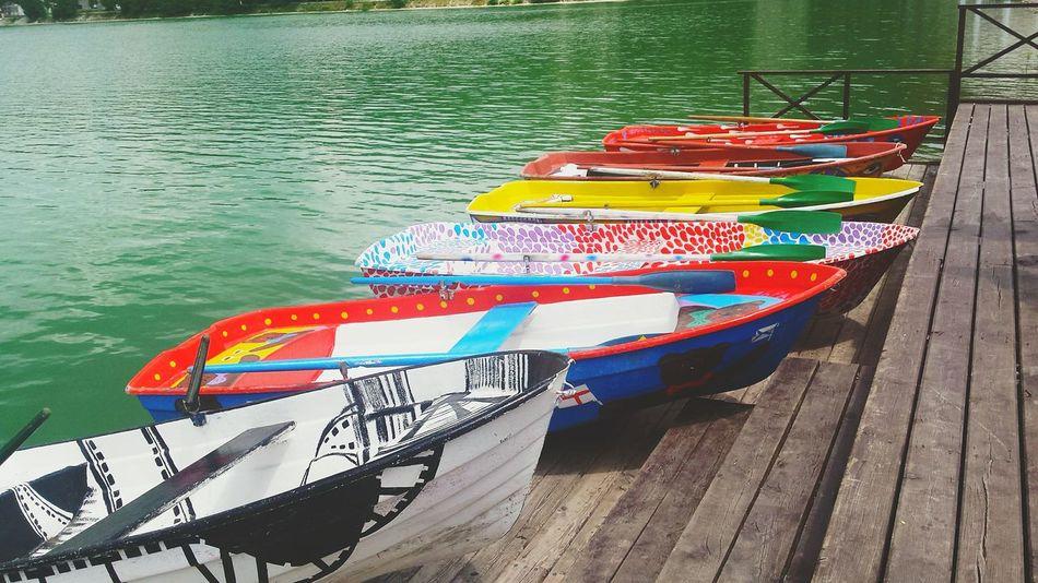 Colourful Boat Boats Lake Sea Water Green Water Green Pier Wood AbrauDurso Abrau-Durso Russia First Eyeem Photo