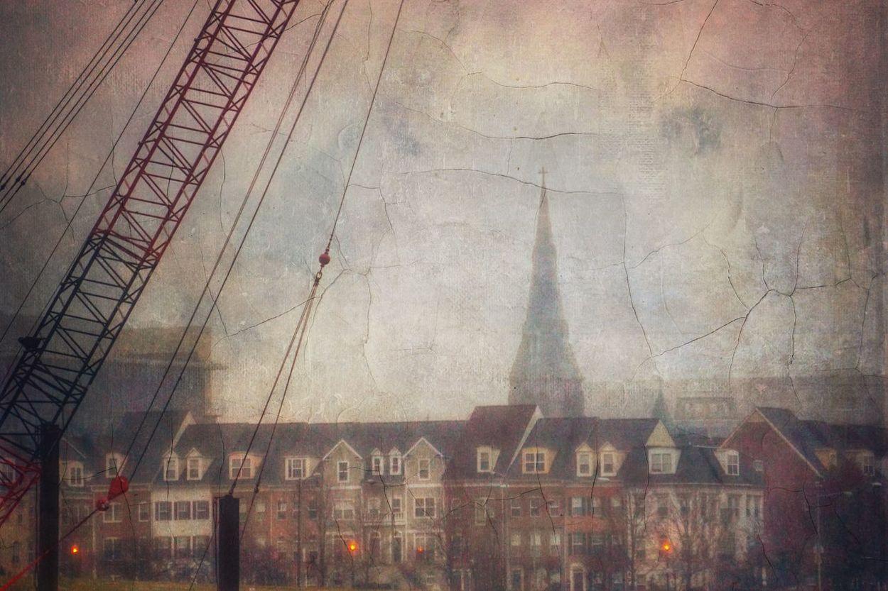 Cranium power Building Crane Architecture Washington DC House Church Fog Cityscapes Cityscape City