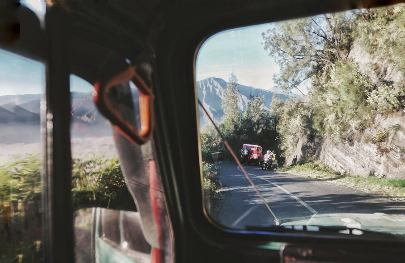 Mount Bromo Mode Of Transport Transportation Tree Day Vehicle Interior Car Jeep First Eyeem Photo 16-35mm F/2.8 Sonya7m2 Volcanoes Landscape Nature Beauty In Nature Outdoors Mountain The Great Outdoors - 2017 EyeEm Awards Live For The Story