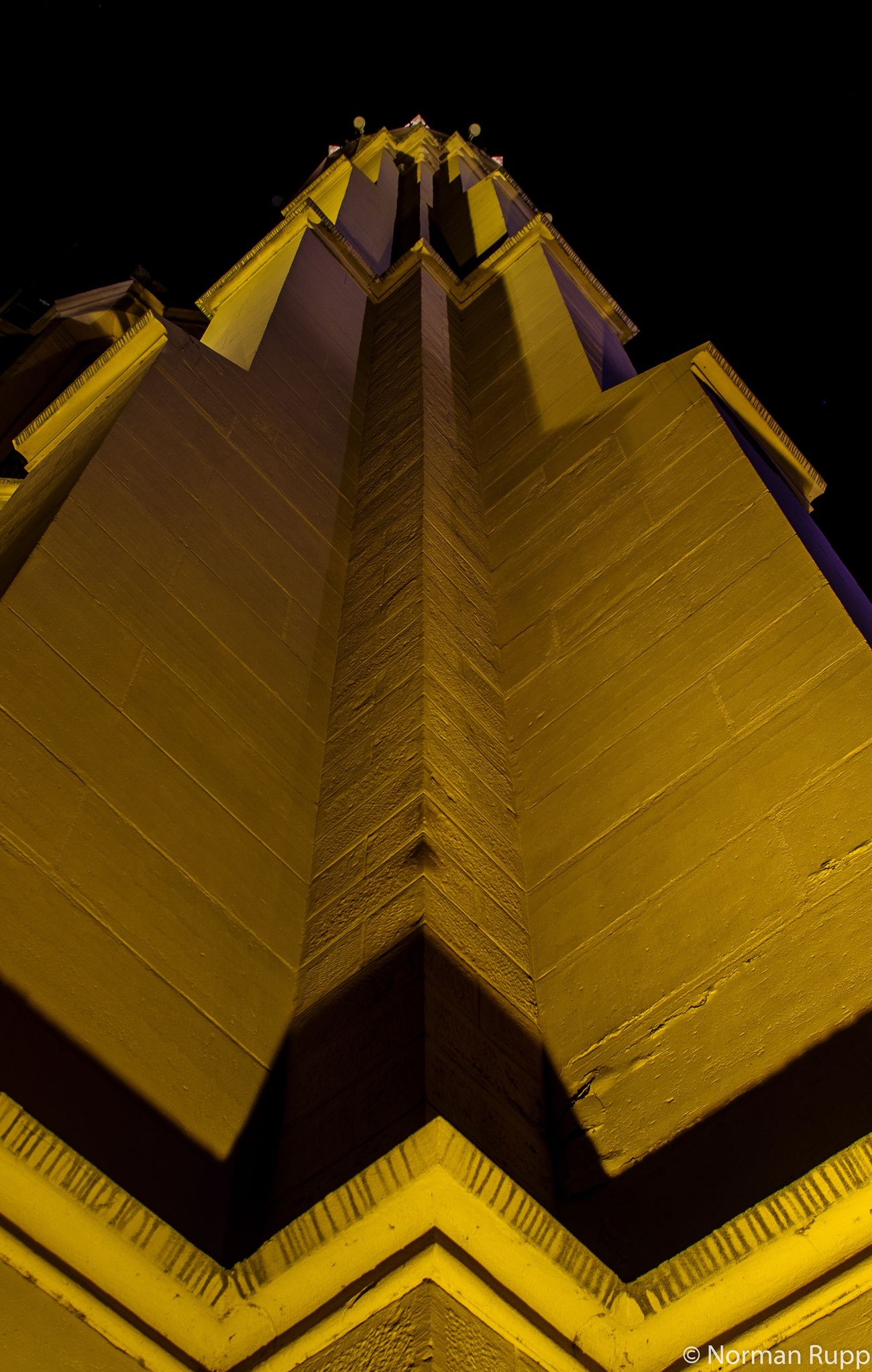 Churchtower in Walldorf Badenwürttemberg Germany Long Exposure Night Yellow Building Street Dark Light