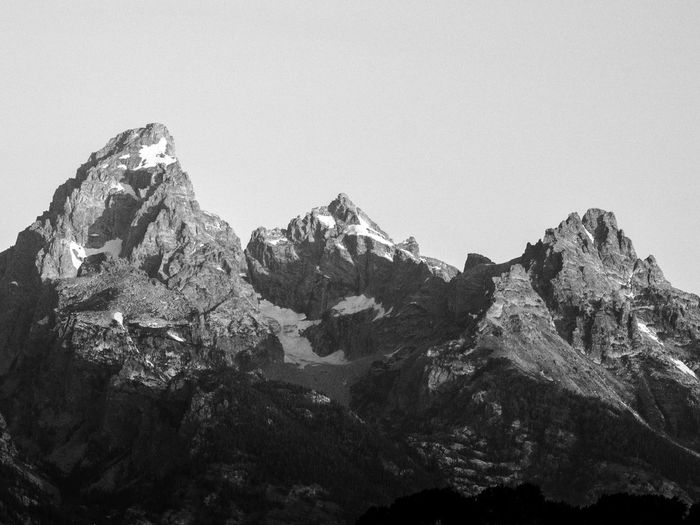 The Grand Teton EyeEm Nature Lover EyeEmNewHere Beauty In Nature Blackandwhite Clear Sky Day Grandteton Grandtetonnationalpark Landscape Monochrome Mountain Nature No People Outdoors Physical Geography Rock - Object Scenery Scenics Sky Tranquility Been There. Lost In The Landscape