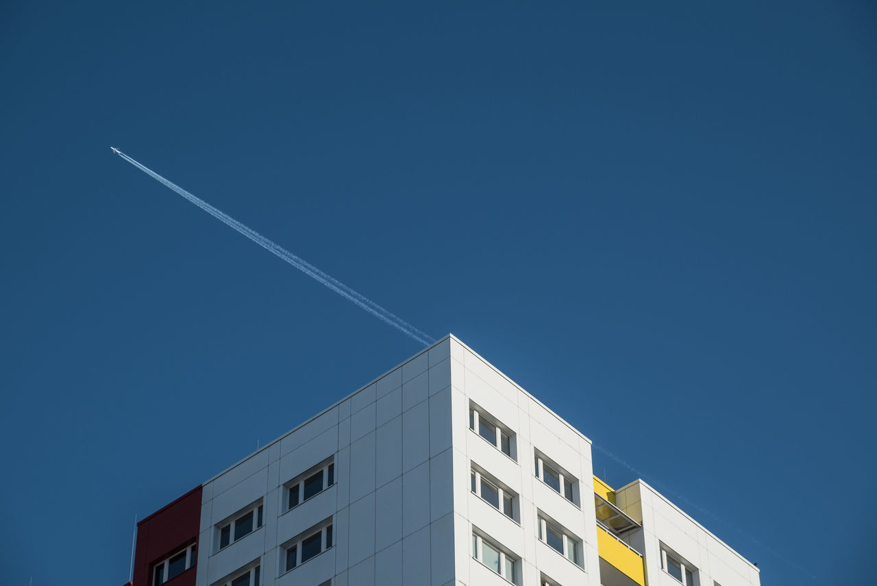 Thelastoneofthisseries Airplane Architectural Detail Architectural Feature Architecture_collection Berlin Berlin Photography Berliner Ansichten Blue Building Building Exterior City Life Cityscape Day Lookingup Low Angle View No People Outdoors Sky Urban Skyline Urbanphotography Vapor Trail