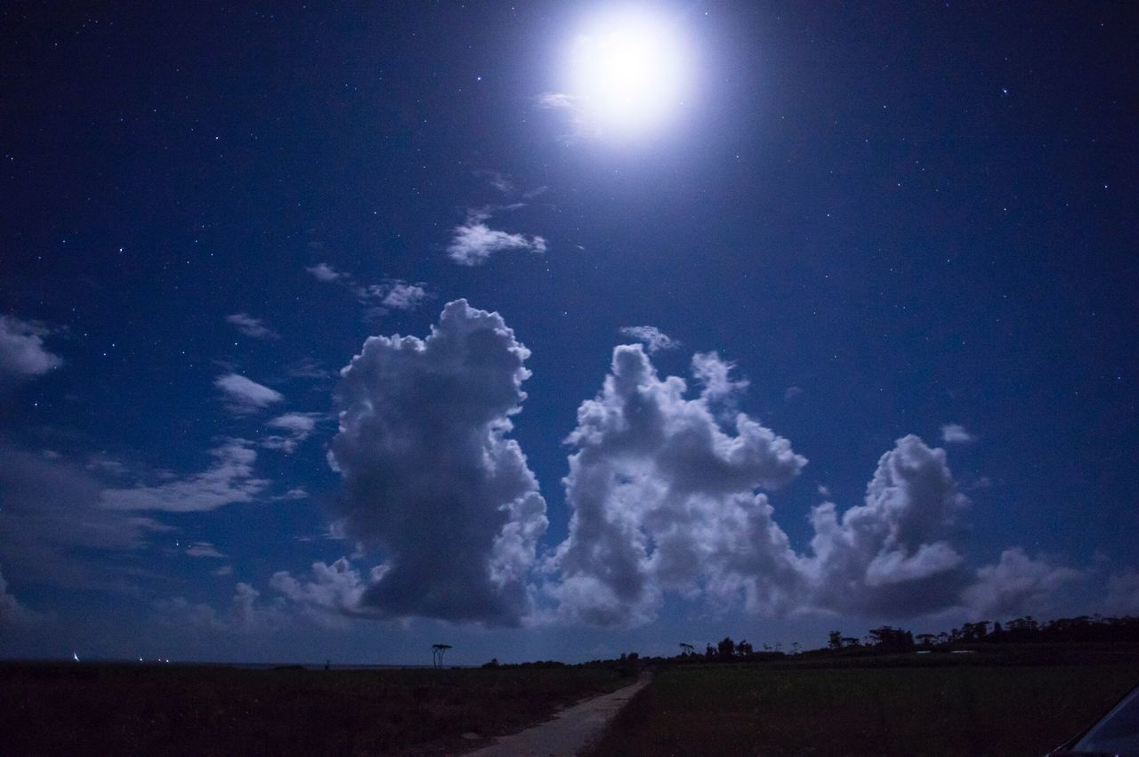 Cloud - Sky Nature Sky Landscape Moonlight Moon And Clouds Nightphotography Beauty In Nature No People Blue Night View Night Sky Nature Photography Japan Iriomote Island