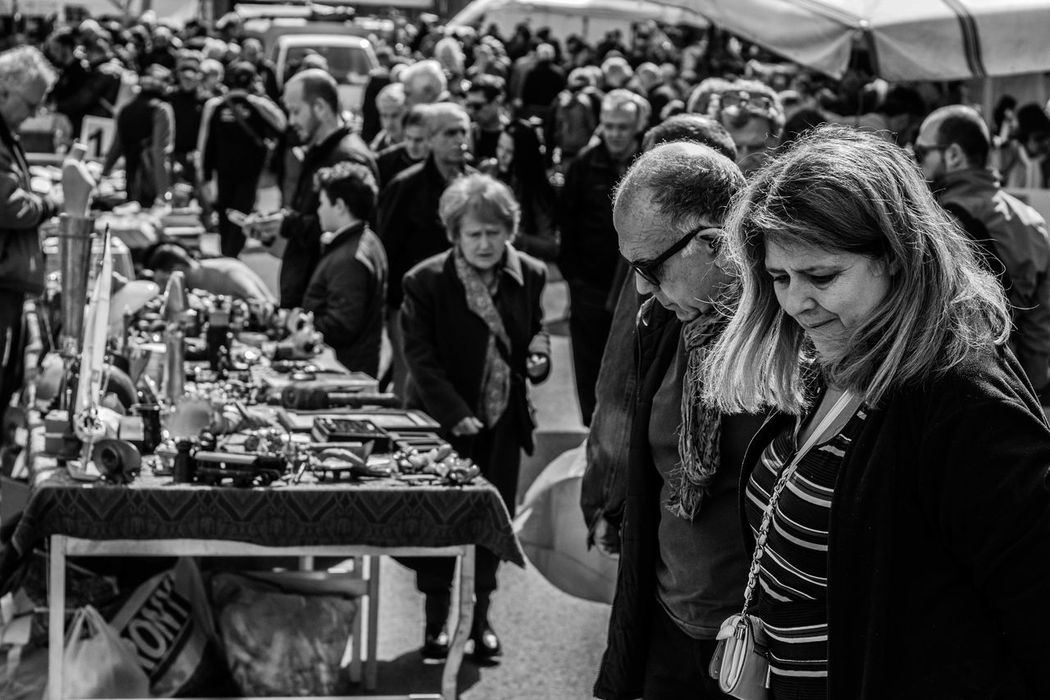 50mm Blackandwhite Photography Cultures For Sale Large Group Of People Lifestyles Market Stall People Photography People Prospective Person Porta Portese Real Life Real People Shopping Street Market