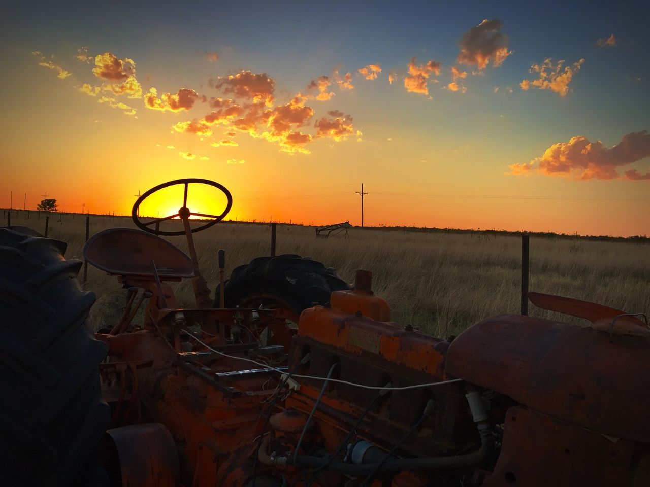 sunset, orange color, sky, nature, transportation, field, no people, cloud - sky, outdoors, scenics, beauty in nature, day