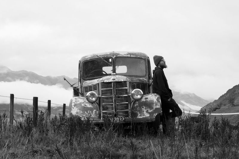 Farm Vehicle Car Oldcar Carinnature Man Aloneman Alone Deep Blackandwhite Photography Texture Nature Lost In The Landscape EyeEmNewHere Nature Reserve Accidents And Disasters Scenic Lonelycar Landscape LostInParadise One Person One Man Only Alone In Nature Only Men Farmland