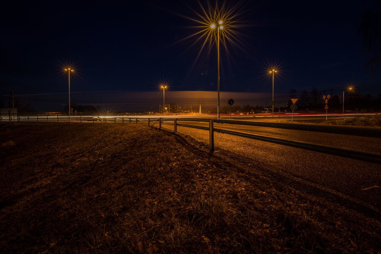 Night Illuminated Street Light Light Trail No People Long Exposure Sky Outdoors Motion Star - Space