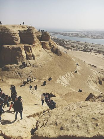Africa Tourism Landscape Arabs Egypt Mountain Climbing Nature Real People Outdoors Men Day Clear Sky Sand Desert Leisure Activity Landscape Lifestyles Large Group Of People Arid Climate Scenics Sky Beauty In Nature People