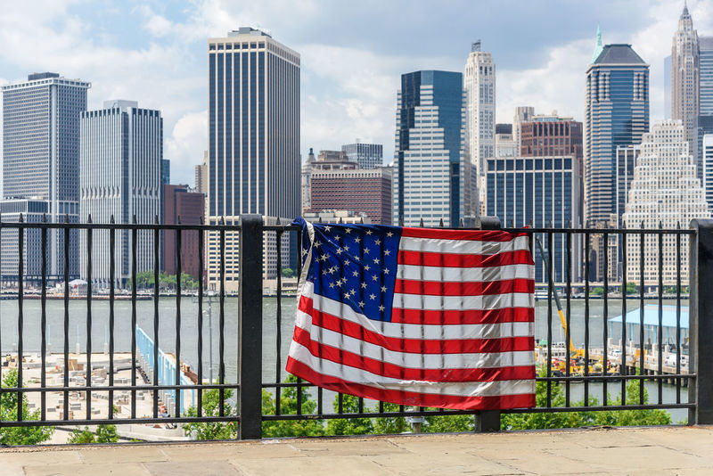 Manhattan New York City USA Architecture Building Exterior Built Structure City Day Flag No People Outdoors Patriotism Sky Stars And Stripes Striped