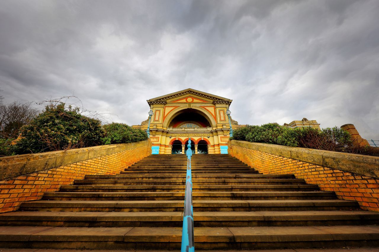 Alexandra Palace Restoration Built Structure Sky Architecture Cloud - Sky Steps Steps And Staircases Low Angle View Yellow Building Exterior Arch Tree Day Outdoors Real People Sculpture