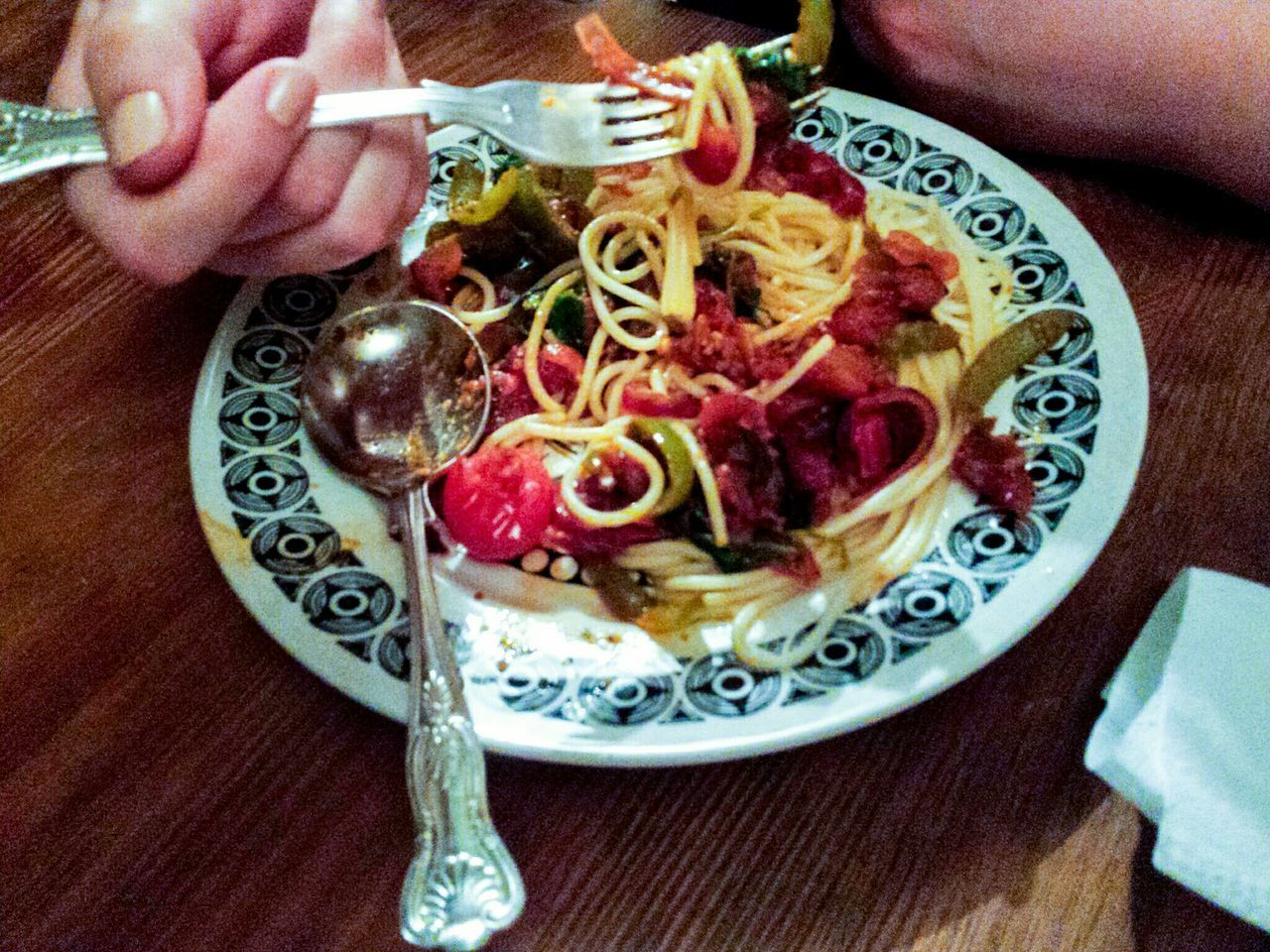Food Foodporn Food Porn Foodphotography Spagetti Vegetables Dining Eating Tea Time Plate Colour Of Life Edible  Yum Scrumptious Italian Food Vintage Plate Fork Spoon Vintage Cherry Tomatoes