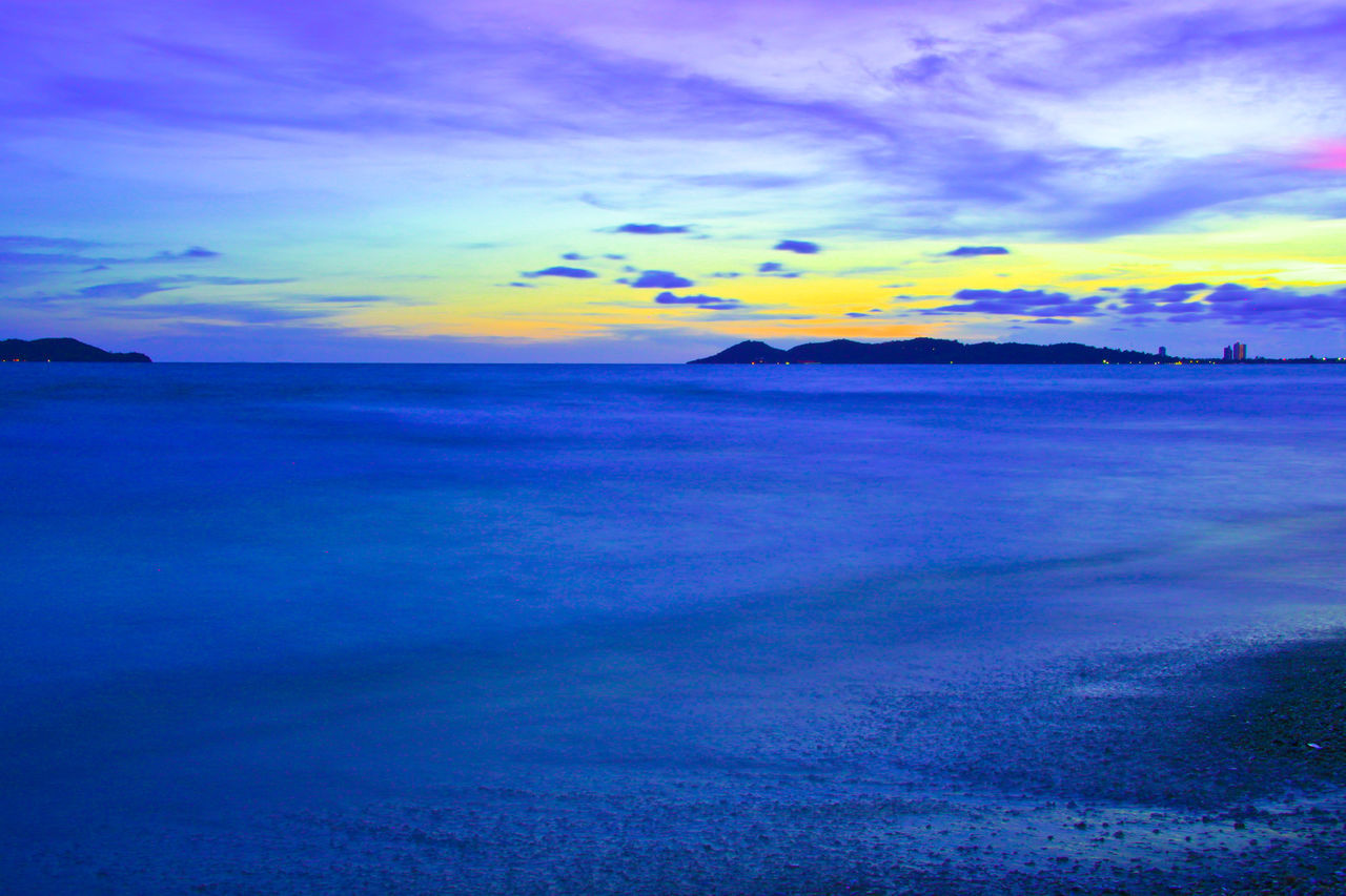 Beautiful sunset in evening at the sea Thailand. Sunset Sea Beach Nature Dusk Ocean Seascape Landscape Cloud - Sky Blue Outdoors Beauty In Nature Evening Island Weather Softwaves Wave Travel Thailand Dramatic Sky Scenics Tourism No People Water Multi Colored