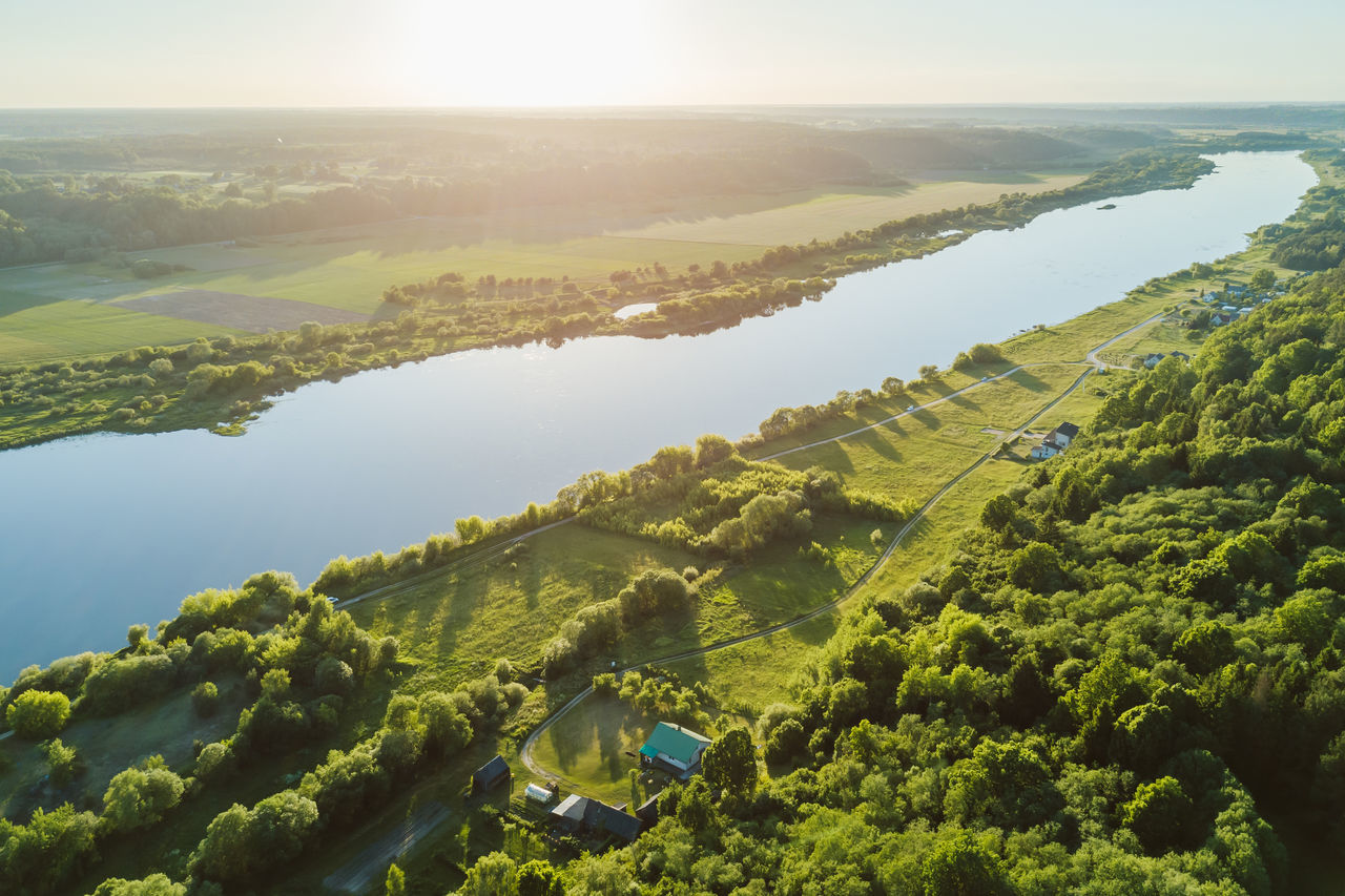 River Aerial View Agriculture Beauty In Nature Day Drone  Field Green Green Color Green Country Landscape Mavic Mavic Pro Nature No People Outdoors Rural Scene Scenics Summer Sunny Tranquil Scene Tranquility