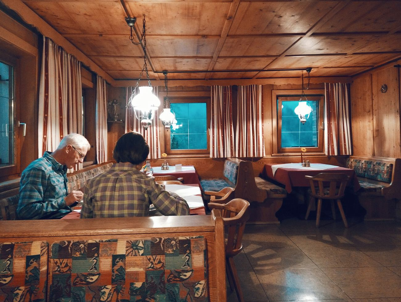 Indoors  Chair Men Rear View Table Couple Woman Restaurant