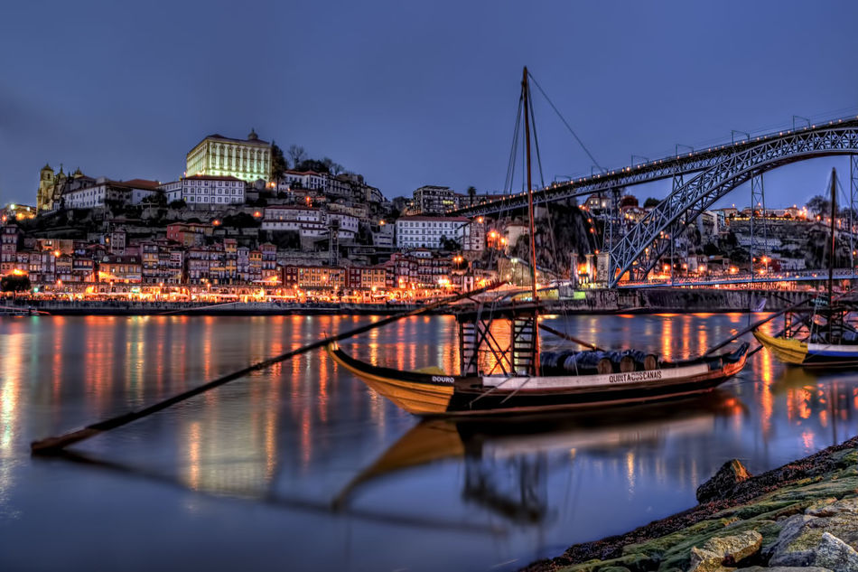 Douro at Night Architecture Bridge - Man Made Structure Building Exterior Built Structure City Cityscape Clear Sky Douro  Illuminated Mode Of Transport Moored Nature Nautical Vessel Night No People Outdoors Porto Portugal Reflection River Sky Transportation Travel Destinations Water Waterfront