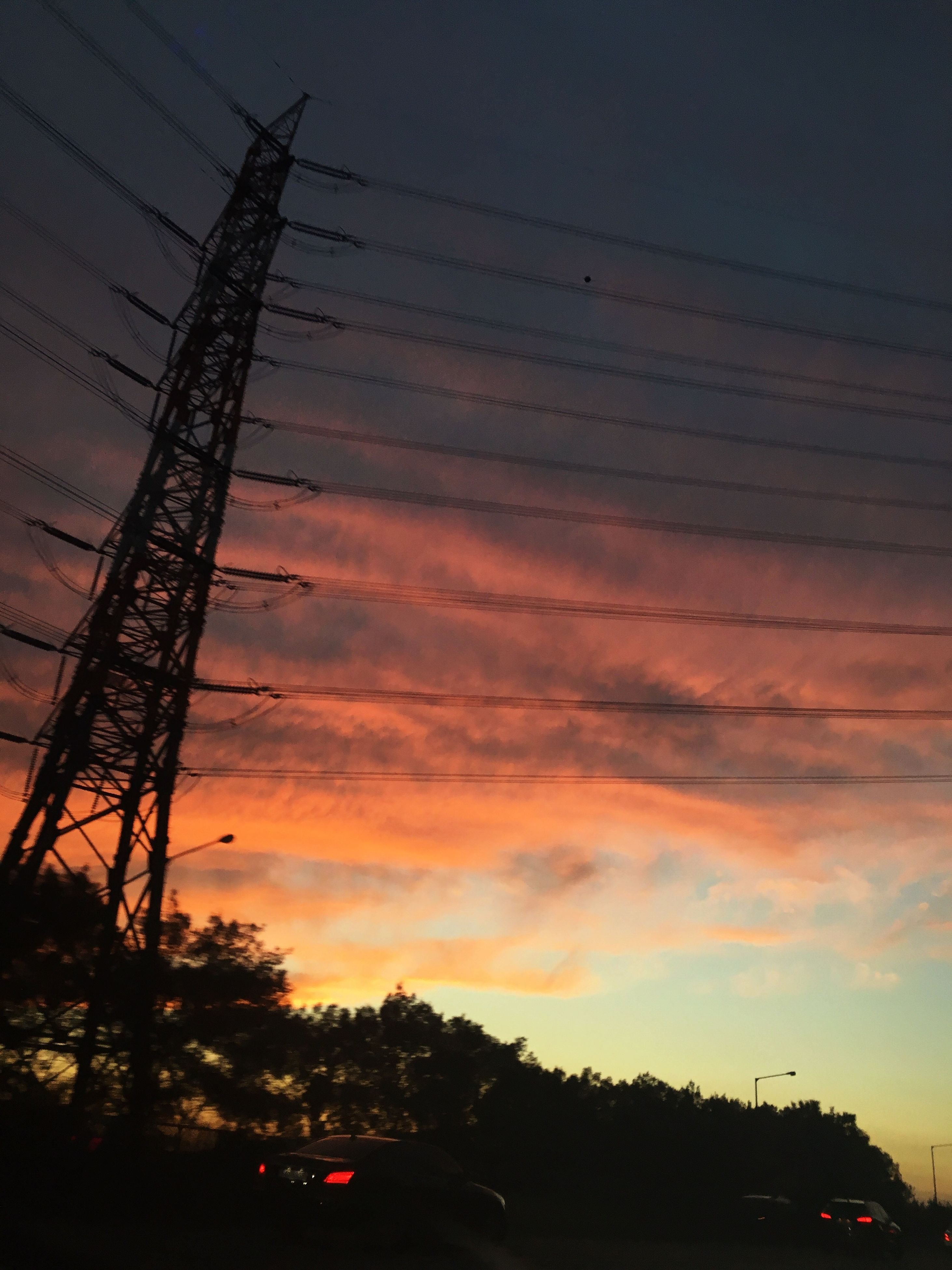 sunset, sky, tree, power line, dusk, orange color, cloud - sky, illuminated, nature, scenics, beauty in nature, outdoors, dramatic sky, cable, no people, cloud, tranquility, power supply, dark, tranquil scene, cloudy, idyllic
