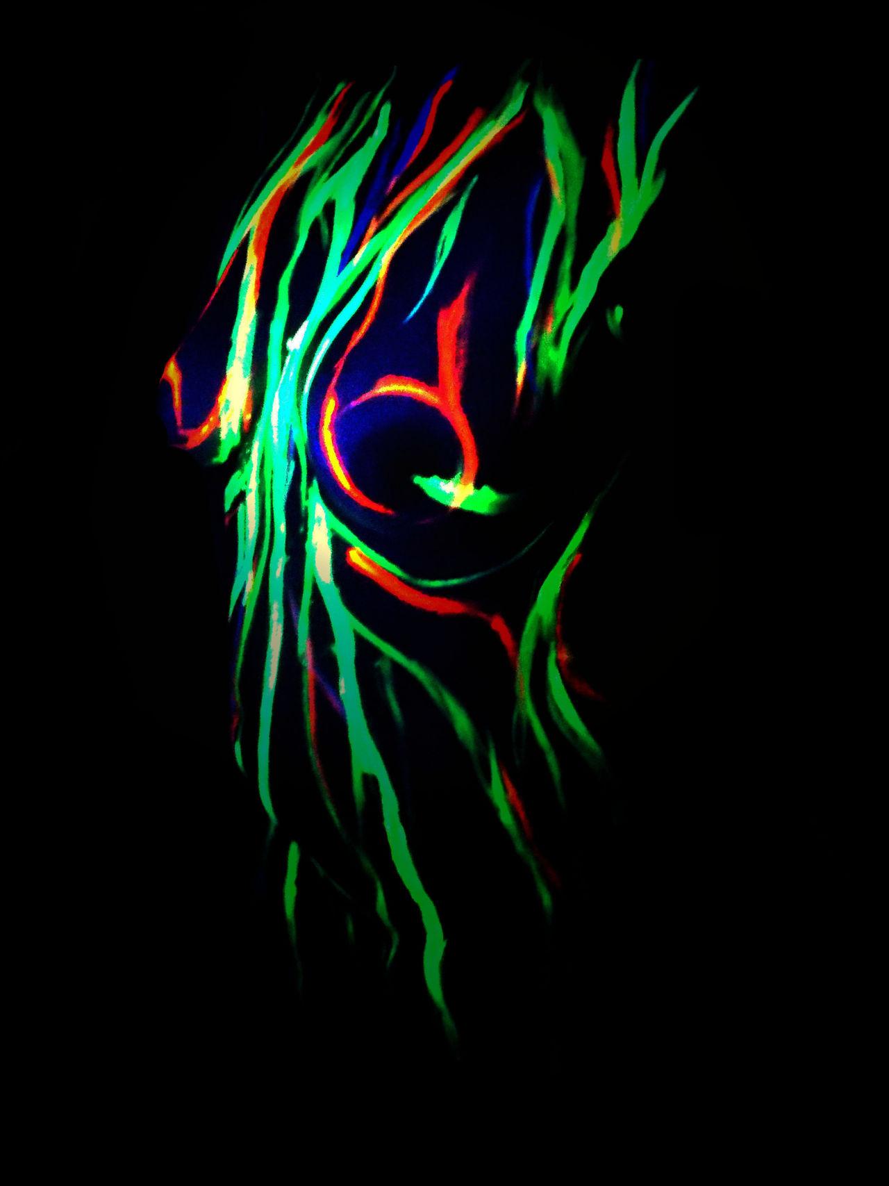 Bodypainting -breast ArtWork Art Shine Glow Colors Acrylic Backgrounds Woman Portrait Woman Breast,
