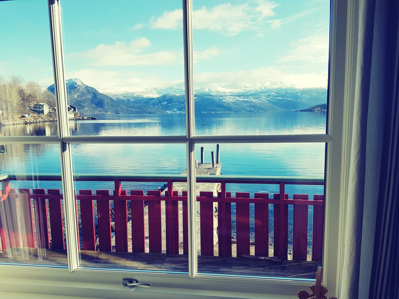 window, water, railing, indoors, scenics, no people, mountain, sky, day, cloud - sky, sea, nature, beauty in nature, tree