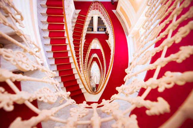 14 24 Nikon Architecture Art Noveau Indoors  Interior Views Liberty Red Red Stairs Showcase March Spiral Spiral Staircase Stairs