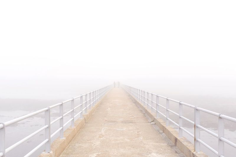 Deceptively Simple Edge Of Unknown White Light Bridge In Fog Fog Roscoff White Edge Of Sea Mystery Bretagne Original Experiences