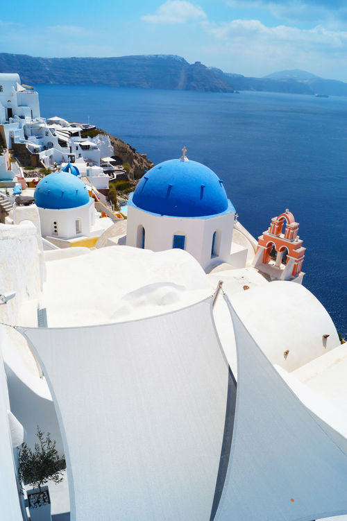 Architecture Blue Building Exterior Day Grece Island Mountain Nature Ocean Outdoors Place Of Worship Residential District Santorini Sea Tourism Town Tranquility Water Waterfront