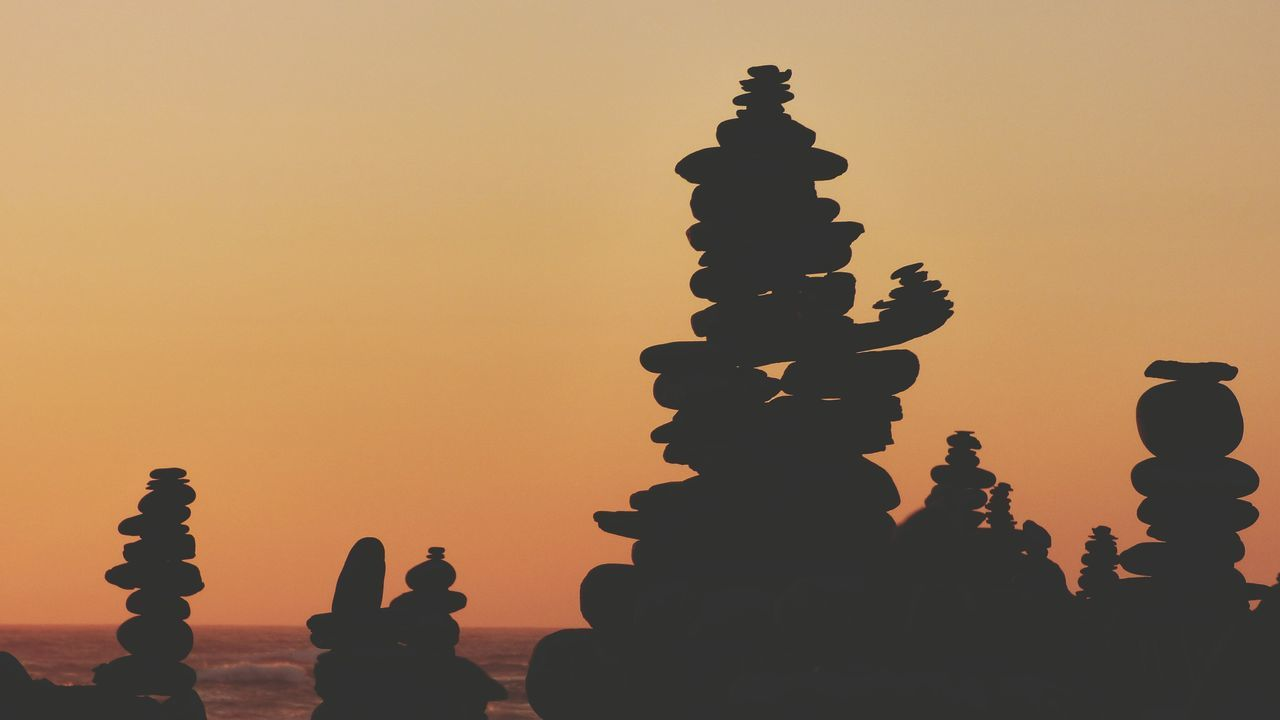 EyeEm Selects Sunset Silhouette Orange Color No People Tranquility Stack Nature Sky Outdoors Scenics Zenrocks Zen Rock At Sunset Zen Rock At Beach Zen Rock On Beach Zen Rocks Minimalist Photography
