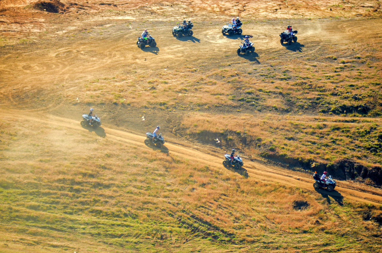 A group of adventure enthusiasts going ATV riding Adventure Atv ATV Ride Beauty In Nature Exploration High Angle View Landscape Lebanon Motor Sport Nature Offroad Outdoors The Way Forward View From Above View From The Top