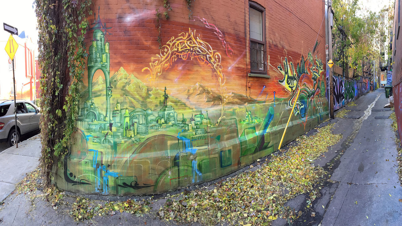 Alley Architecture Art Building Exterior Composition Creativity Fall Colors Fish-eye Lens Graffiti Historic Le Plateau Mont-royal Montréal Multi Colored Mural Art Mural St Laurent Off Off Mural St Laurent Perspective Street Art Text Urban Geometry Urban Landscape Urban Lifestyle Urban Photography Streetphotography Authentic Moments Minimalism Photography Color Photography Wall - Building Feature