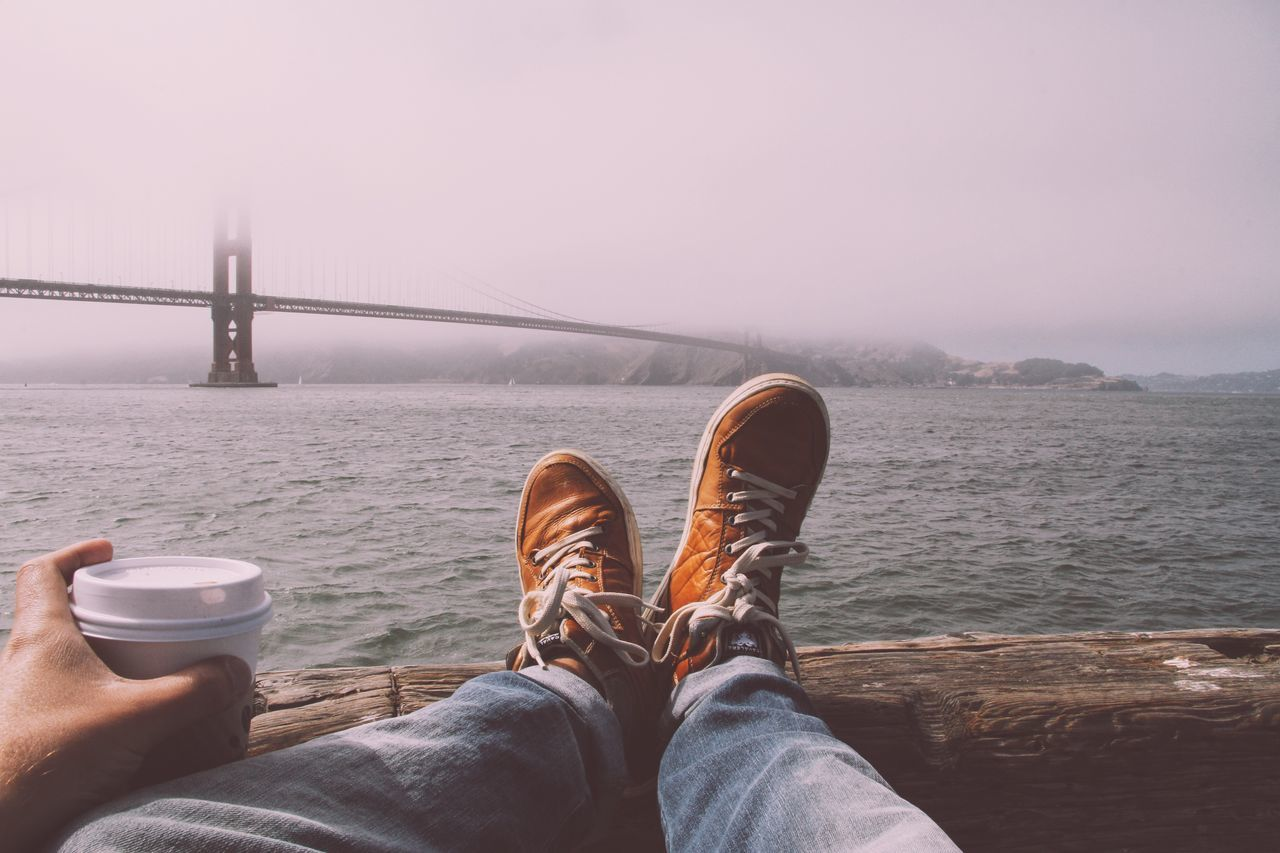 Adapted To The City Water Shoe Sea Low Section Sky Human Leg Tranquility Nature Beauty In Nature Outdoors Men Scenics Day One Person Canvas Shoe Human Body Part People Adult San Francisco Golden Gate Bridge Coffee Coffee Time
