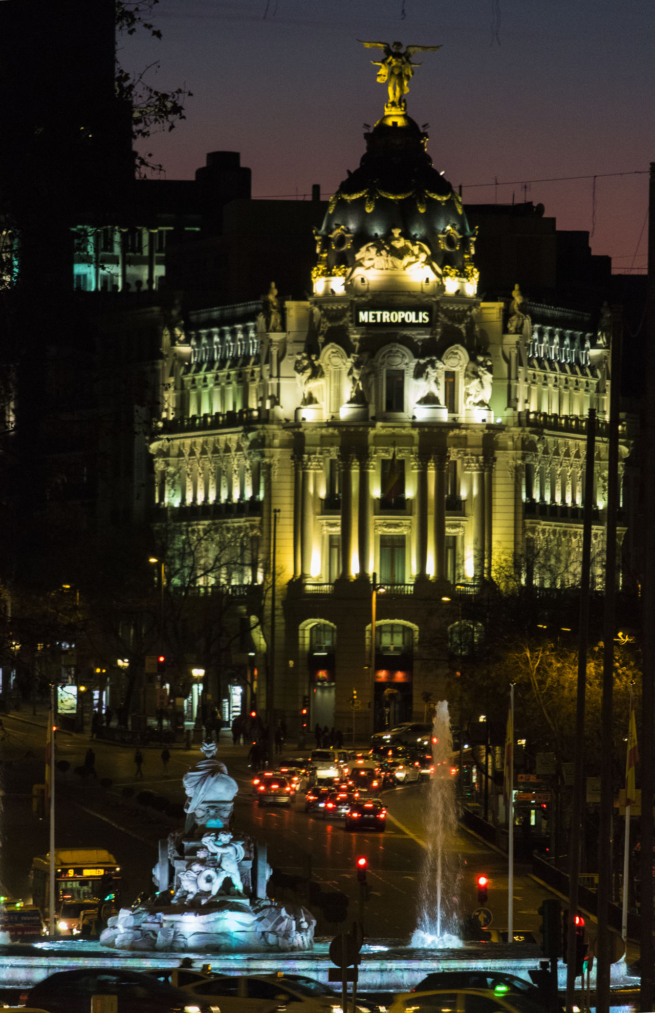 Architecture Building Building Exterior Built Structure Cars Cibeles City City City Life Citylights Cityscape Cityscapes Fountain Gran Via, Madrid Illuminated Madrid Night Nightlights No People Outdoors Sky Statue Sunset Travel Travel Destinations