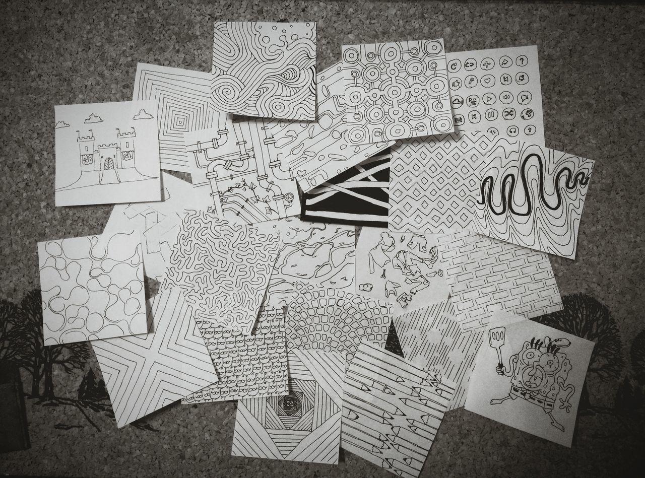 Notepaper Art Inkpen Drawing Lines And Shapes Corkboard Boredom. Creativity Random First Eyeem Photo