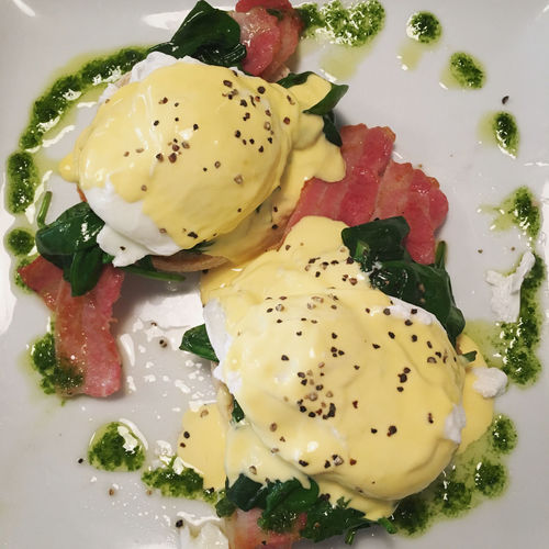 Eggs florentine with back bacon Back Bacon Bacon Brakfast Breakfast Brunch Close-up Day Egg Egg White Egg Yolk Eggs Florentine Food Food And Drink Food Styling Fresh Freshness Freshness Healthy Eating Indoors  No People Plate Poached Ready-to-eat