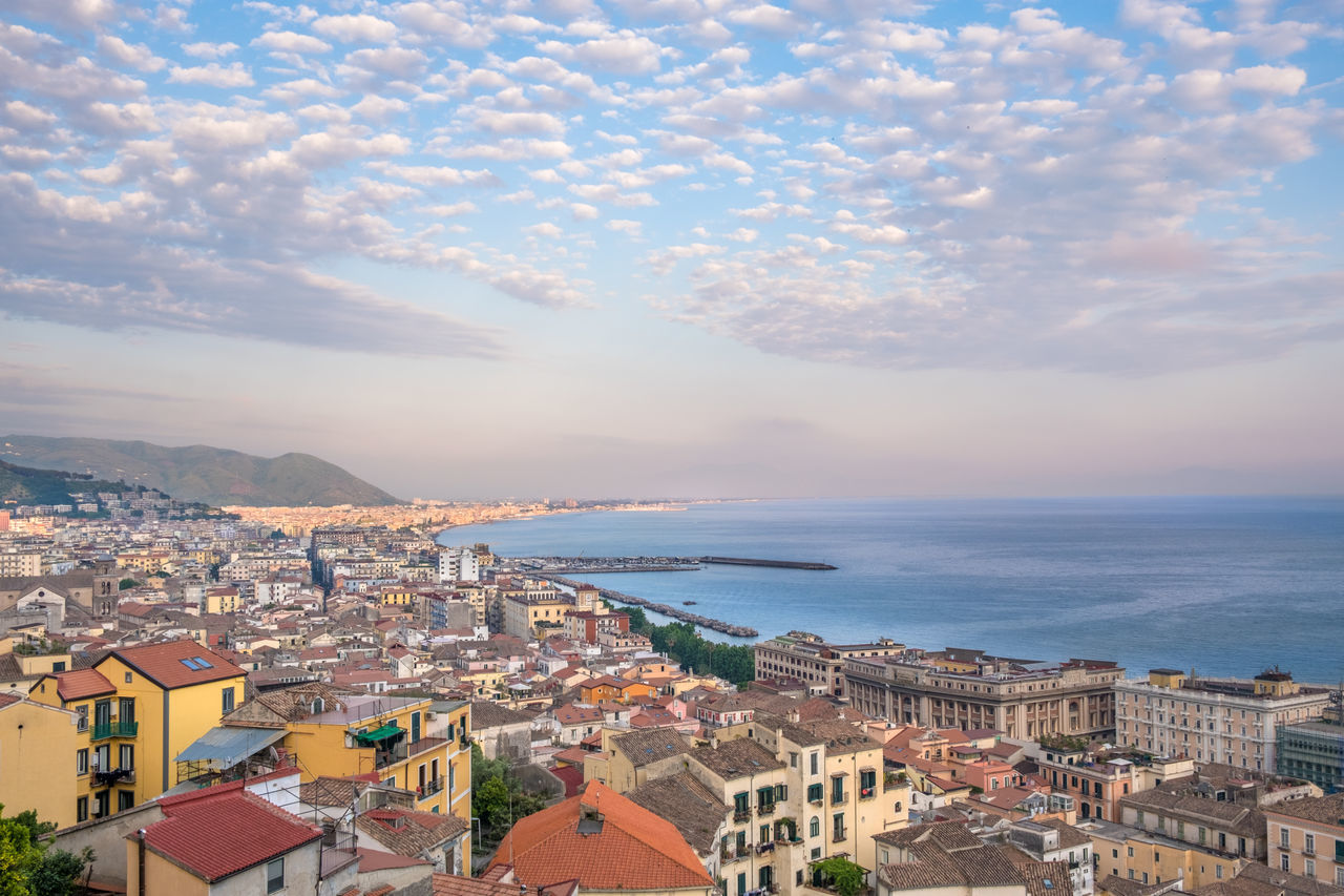 Aerial View Architecture Building Exterior Built Structure City Cityscape Cloud - Sky Coast Elevated View High Angle View Horizon Over Water Majestic Mediterranean Sea No People Outdoors Scenics Sea Sky Sunset Tourism Town Travel Travel Destinations Vacations Water