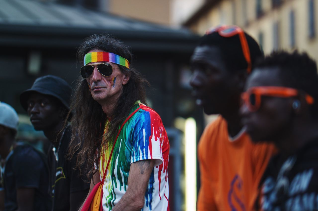 EyeEm Selects Real People Focus On Foreground Togetherness Lifestyles Young Adult EyeEm Best Shots EyeEm Masterclass Candid Pride2017 Portrait Streetphotography Milanopride Colors Outdoors Group Of People Rainbow