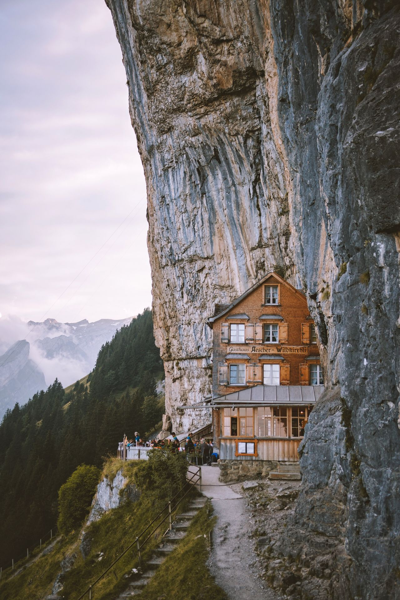Mountain cafe. Switzerland Built Structure House Architecture Mountain Rock - Object Building Exterior No People Water Nature Day Scenics Sky Outdoors Beauty In Nature