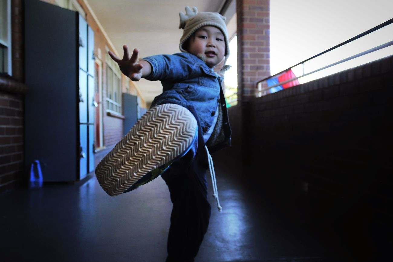 • And Kick • Open Edit The Moment - 2015 EyeEm Awards EyeEm Best Shots Child Kicks The Action Photographer - 2015 EyeEm Awards Corridor Boy Toddler  Capture The Moment