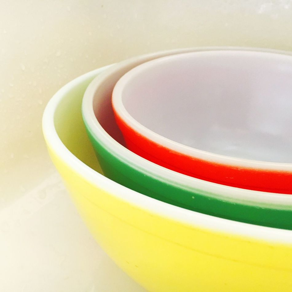 Pyrex Mixing Bowls Kitchen Vintage Still Life Multi Colored No People Close-up Indoors  Food And Drink Table Day