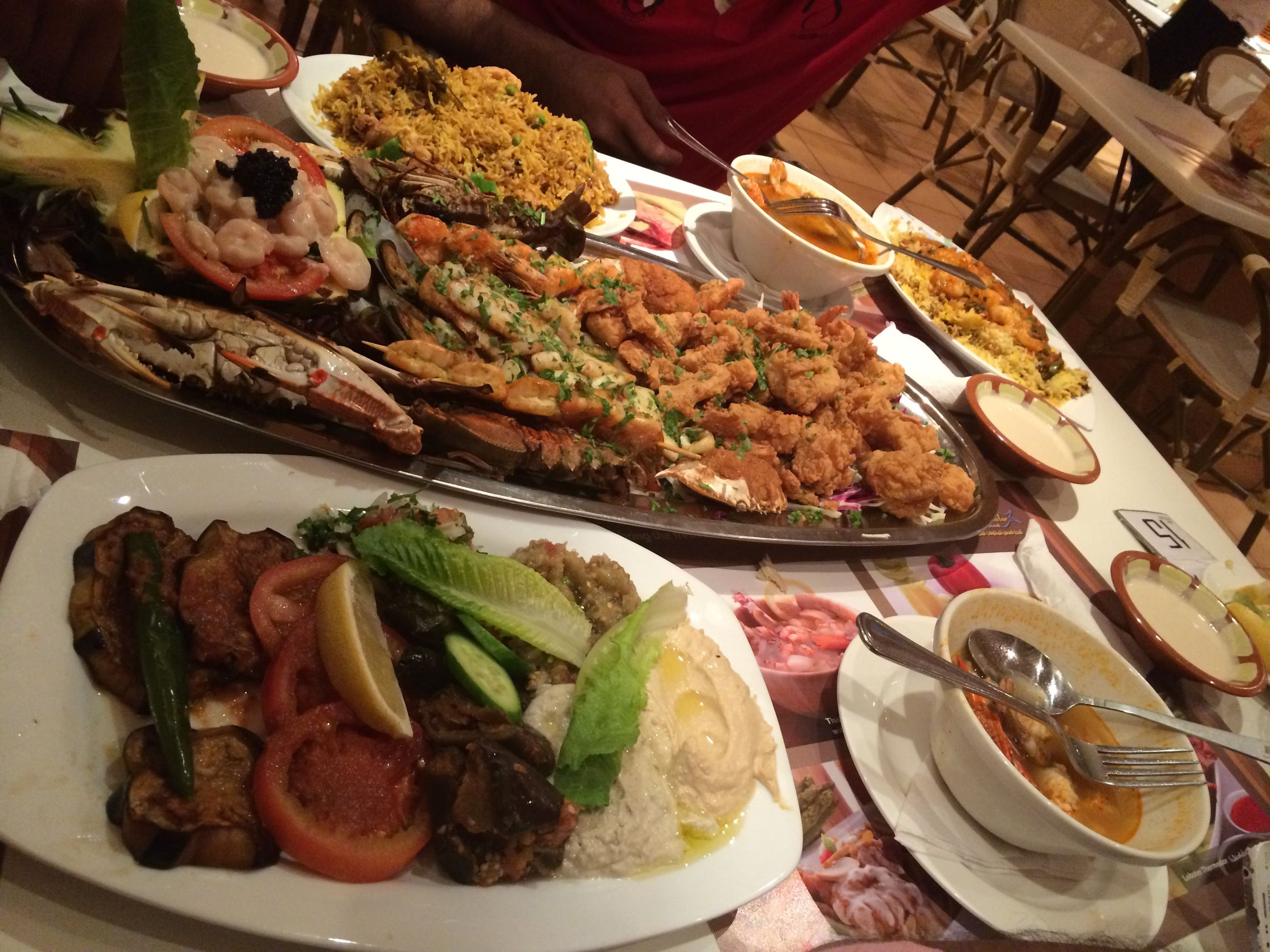food and drink, food, indoors, freshness, healthy eating, high angle view, ready-to-eat, still life, plate, meat, table, serving size, seafood, meal, vegetable, no people, close-up, indulgence, served, day