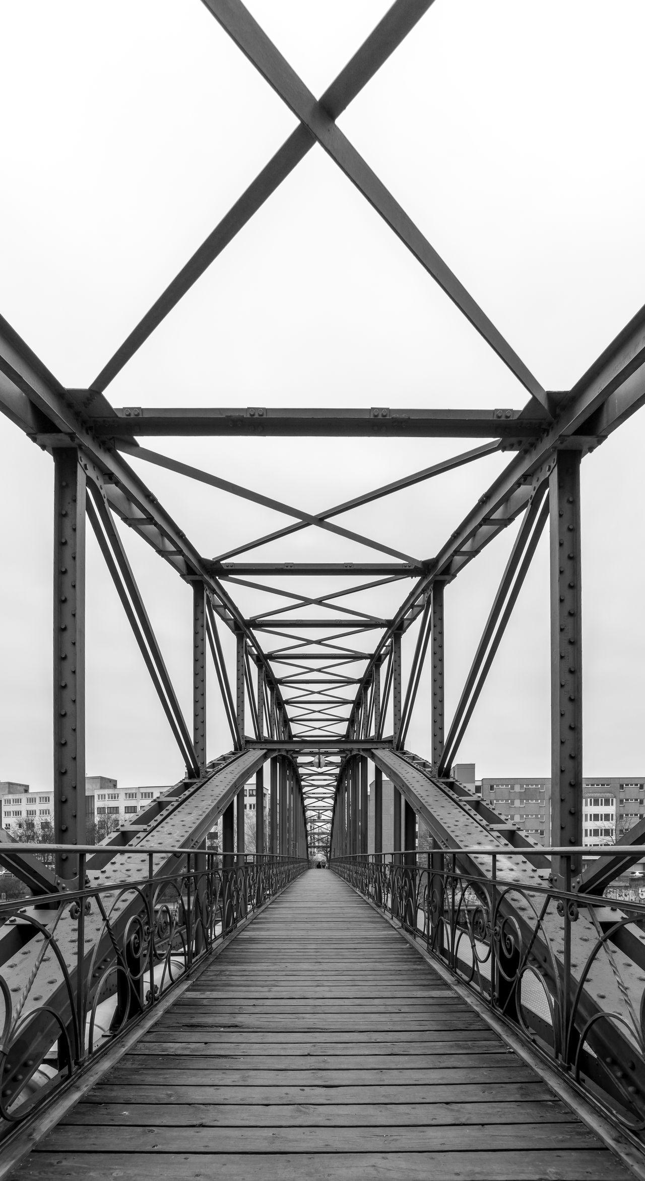 Architecture Berliner Ansichten Black & White Bridge Bridge - Man Made Structure Built Structure Connection Day Fußgängerbrücke Nature No People Outdoors Sky Suspension Bridge The Way Forward
