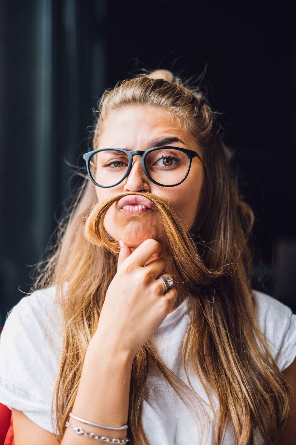 Woman with funny face Eyeglasses  Young Adult Real People One Person Looking At Camera Long Hair Portrait Lifestyles Beautiful Woman Close-up Face Beautiful Stylish Accesories