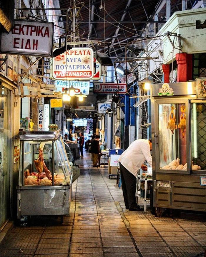 Market Food Oldmarket Meat Fish Butcher People Groceries Bakery Abandoned Shop Neonlights Streetphotography City Center Modiano Foodphotography Lunch Instafood Photography Canon700D Thessaloniki Greece