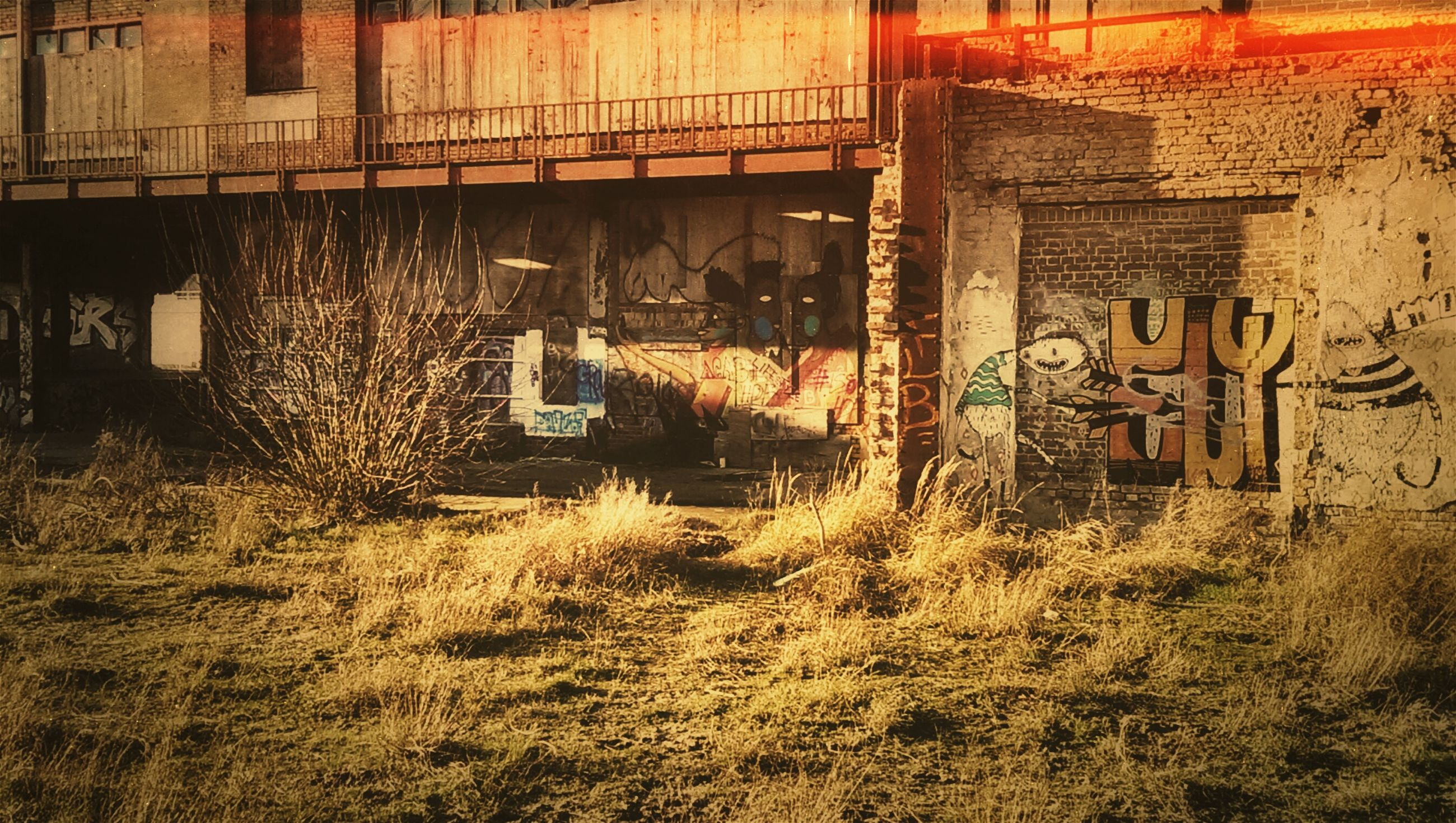 architecture, built structure, building exterior, graffiti, building, wall - building feature, house, outdoors, text, residential structure, grass, residential building, no people, day, plant, art, abandoned, brick wall, art and craft, old