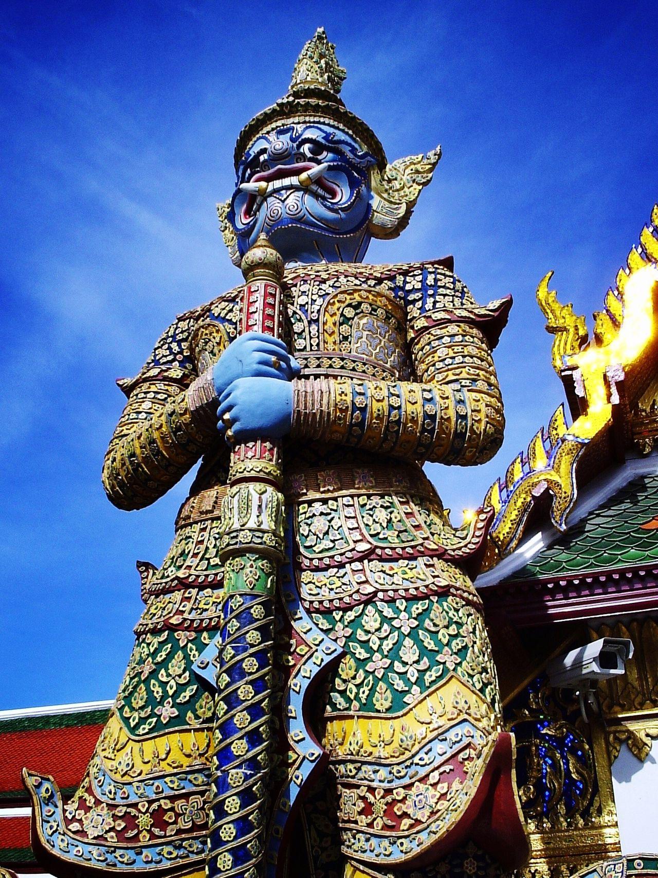 Old and New Surveillance Bangkok Guardian Temple Palace Guard Statue Thailand Securitycam Security