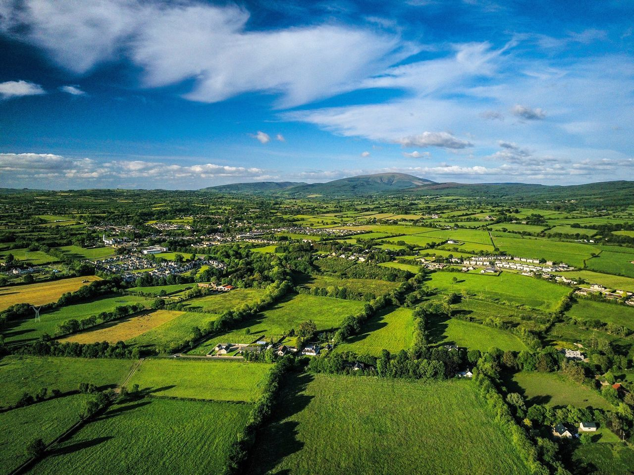 Landscape Tranquil Scene Agriculture Beauty In Nature Scenics Nature Field Rural Scene Sky Farm Green Color Cloud - Sky Tranquility Cultivated Land No People Patchwork Landscape Day Outdoors Aerial View Grass Ireland Newport Drone  Dji