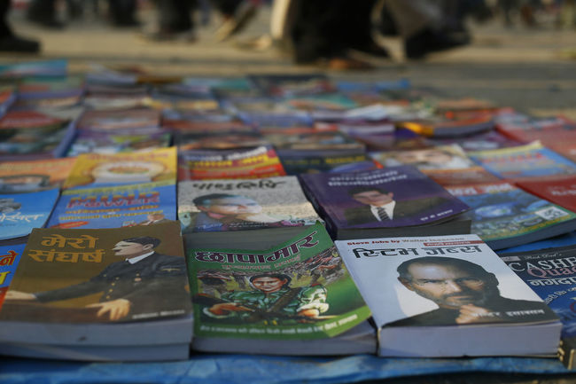 Options. At a book stall in a public space in Kathmandu, Nepal (2013). Book Collections Book Cover Choices Hitler ✌ Maoists Nepal No People Options Steve Jobs Streetphotography